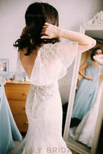 Beaded Sweetheart Cap Sleeve Lace Tulle Mermaid Wedding Dress With Sequins