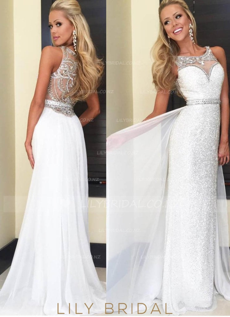 Beaded Sweetheart Sheath Illusion Sequin Wedding Dress With Chiffon Overskirt