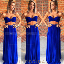 Beaded Strapless Sweetheart Sleeveless Two Piece Long Solid Pleated Prom Dresses
