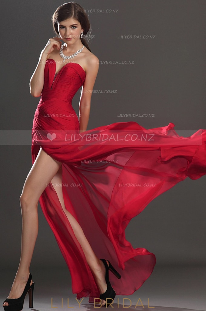 Beaded Sweetheart Strapless Sexy Evening Dress With High Slit