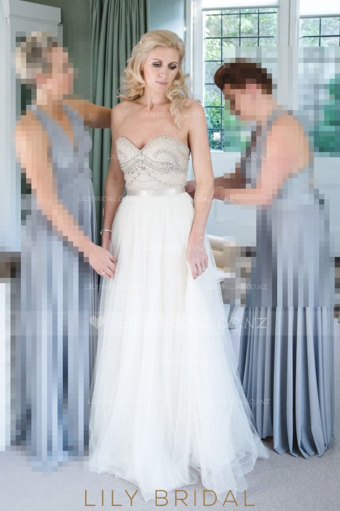 Beaded Tulle Strapless Bridal Dress With Sweetheart Neckline
