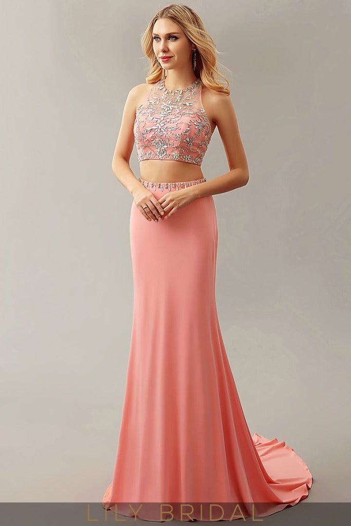 Beaded Two-Piece Sweep Train Mermaid Prom Dress