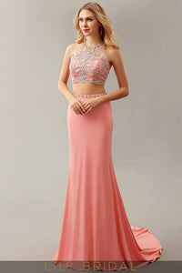 Beaded Two-piece Coral Chiffon Fit-and-flare Long Prom Dress
