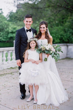 Beaded White Satin Tulle Princess Flower Girl Dresses