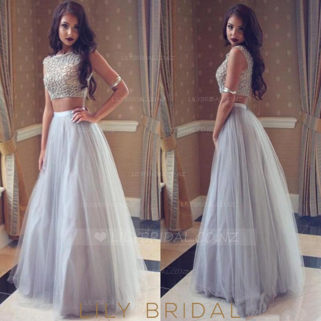 Beading Bateau Neck Cap Sleeves Two Piece Floor-Length Pleated Tulle Prom Dresses