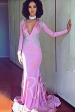 Beaded Deep V-Neck Neck Long Sleeves Long Mermaid Prom Dress with Sweep Train