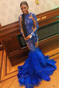 Beading Feathers Illusion Scalloped Edge Neck Long Sleeves Long Mermaid Prom Dress
