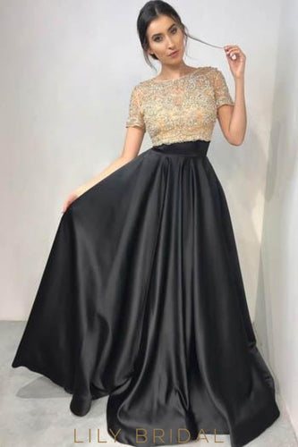 Elegant Beading Illusion Bateau Neck Short Sleeves Long Solid Satin Evening Dress