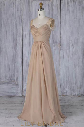 Beading Illusion Cap Sleeves Zipper-Up Long Solid Ruched Sheath Bridesmaid Dress