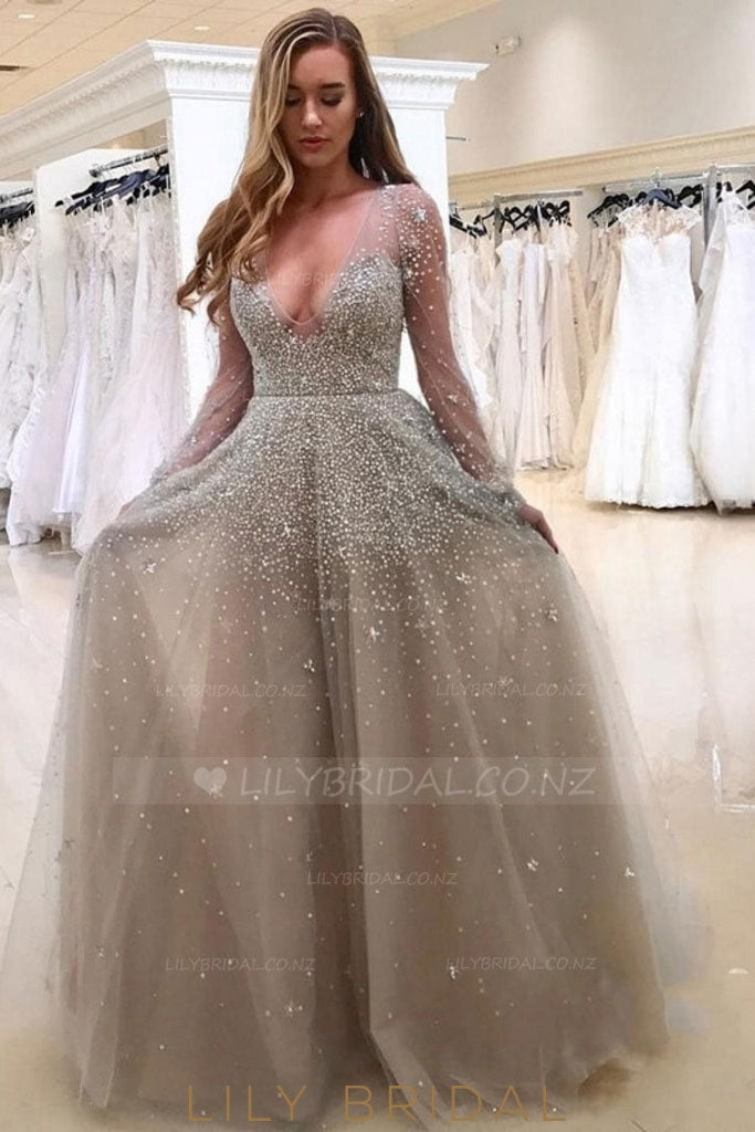 Beading Illusion Deep-V Neck Long Sleeves Floor-Length Sheath Tulle Evening Dress