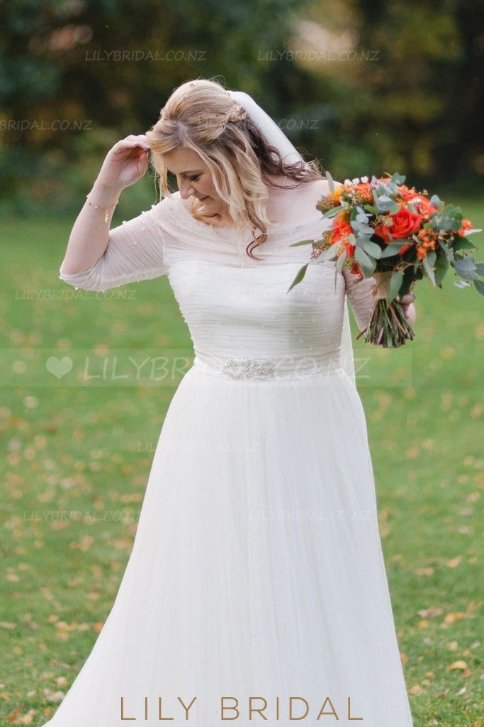 Beading Illusion Off Shoulder Half Sleeves Plus Size Long Solid Ruched Tulle Wedding Dress