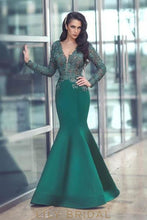 Beading Illusion Sheer Neck Long Sleeves Floor-Length Stretch Mermaid Evening Dress