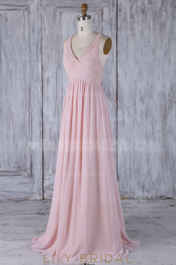 Copy Of Ruffles V-Neck Sleeveless Two Piece Long Sheath Chiffon Bridesmaid Dresses