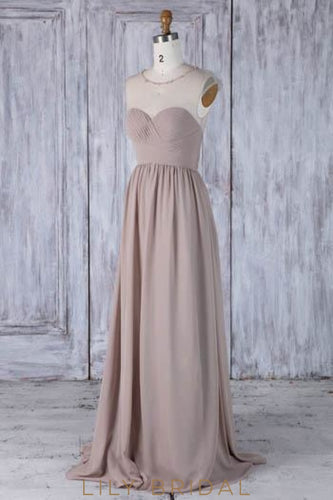 Beading Key-Hole Illusion Scoop Neck Cap Sleeves Long Solid Ruched Sheath Bridesmaid Dress