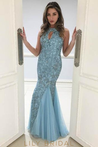 Beading Key-Hole Jewel Neck Sleeveless Open Back Floor-Length Mermaid Evening Dress