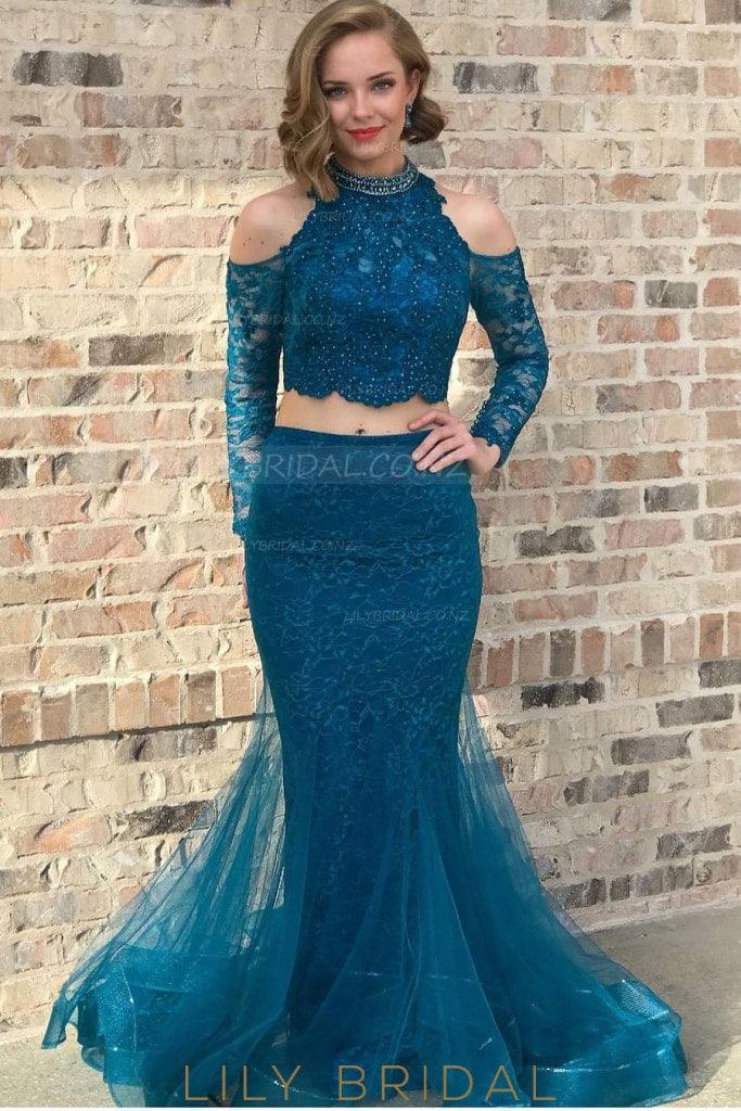 Beading Lace High Neck Cold Shoulder Long Sleeves Floor-Length Mermaid Evening Dress