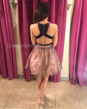 Beading Lace Jewel Neck Sleeveless Open Back Two Piece Short Cocktail Dresses