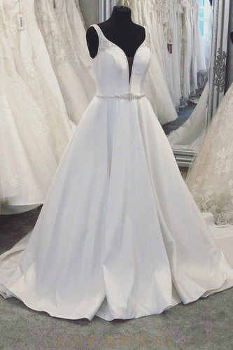 Luxury Beading Plunging Neck Sleeveless Backless Long Solid Satin Wedding Dress