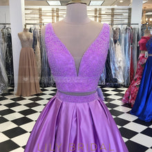 Beading Plunge Neck Sleeveless Two Piece Long Solid Pleated Evening Dresses