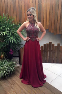 Beading Rhinestone Jewel Neck Sleeveless Zipper-Up Long Solid Chiffon Prom Dress Standard Size