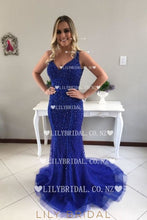 Beading Rhinestone Plunging Neck Sleeveless Open Back Long Fit-And-Flare Prom Dress