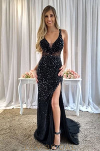 Black Beading Rhinestone Plunging Neck Sleeveless Open Back Long Slit Prom Dress