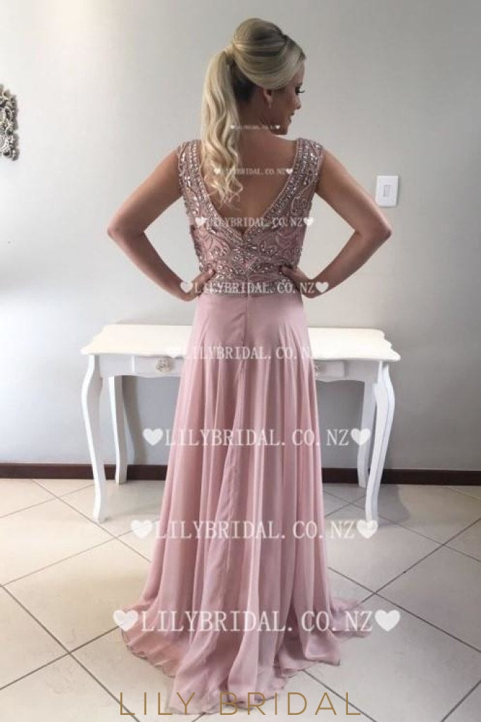 Beading Rhinestone Scoop Neck Cap Sleeves Zipper-Up Long Chiffon Prom Dress
