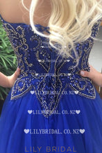 Beading Rhinestone Sweetheart Sleeveless Lace-Up Long Solid A-Line Tulle Prom Dress