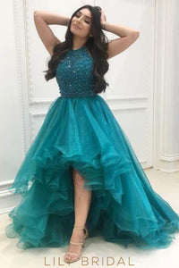 Elegant Beading Ruffles Jewel Neck Sleeveless High-Low Solid Tulle Prom Dress