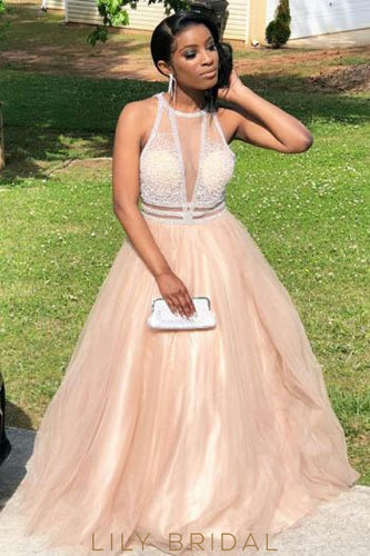 Beading Illusion Scoop Neck Sleeveless Long Tulle Prom Dress With Sweep Train