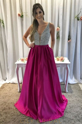 Luxury Beading Sequin Plunging Neck Sleeveless Backless Long Satin Prom Dress