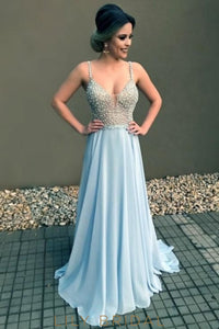 Graceful Beading Illusion Spaghetti Straps Sleeveless Lace-Up Long Chiffon Prom Dress