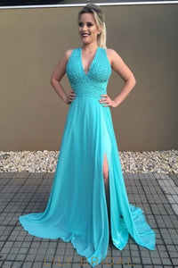 Beaded V-Neck Sleeveless Lace-Up Long Solid Slit Chiffon Prom Dress with Sweep Train