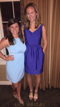 Royal Blue Satin Sheath V-Neck Sleeveless Bridesmaid Dress