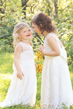 Jewel Sleeveless Keyhole Back Floor-Length Lace Flower Girl Dress With Bowknot