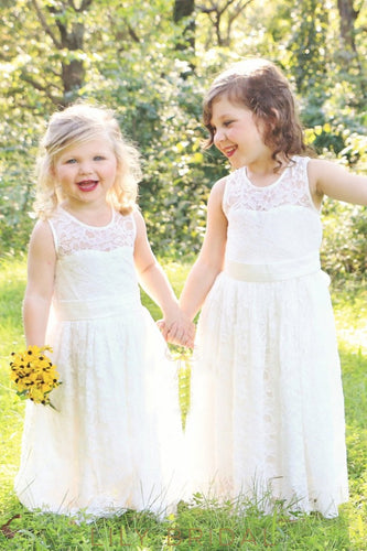 Jewel Neck Sleeveless Keyhole Back Floor-Length Lace Flower Girl Dress With Bowknot