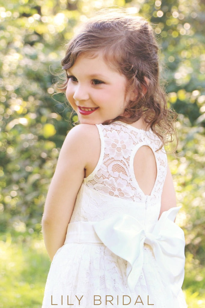 Jewel Neck Keyhole Back Floor-Length Lace Flower Girl Dress With Bowknot