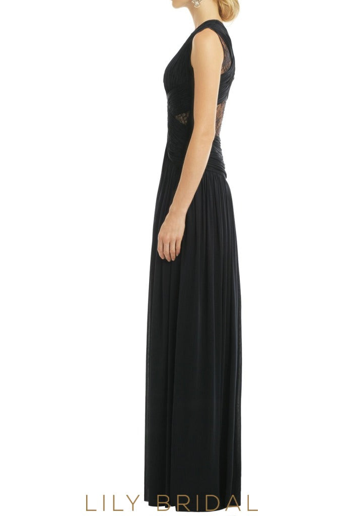Chiffon A-Line Sleeveless Criss-Cross Back Bridesmaid Dress