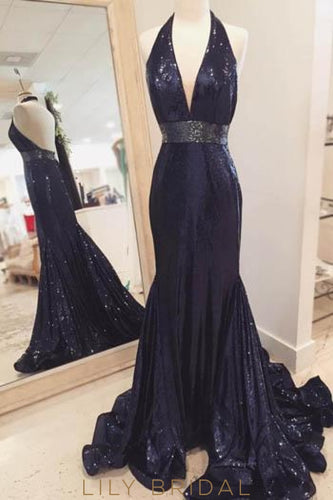Black Backless Halter Low V-Neck Sequinned Prom Dress With Waistband