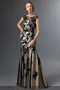Black Champagne Satin Lace Cap Sleeve Dropped Waist Trumpet Mother of the Bride Dresses