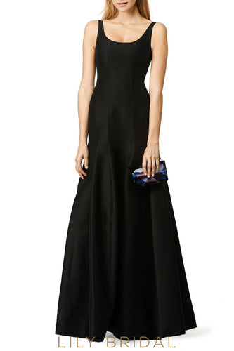 Simple Strap Dropped Waist Floor-Length Black Satin Bridesmaid Dress