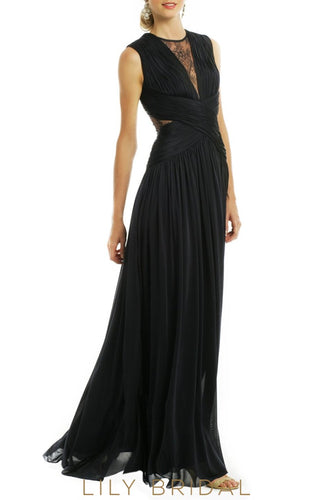 Black Chiffon A-Line Sleeveless Criss-Cross Back Bridesmaid Dress
