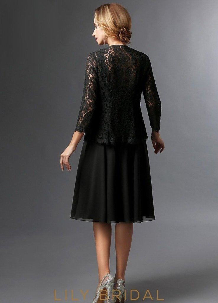 Chiffon Lace Sweetheart Knee Length A-Line Mother of the Bride Dresses