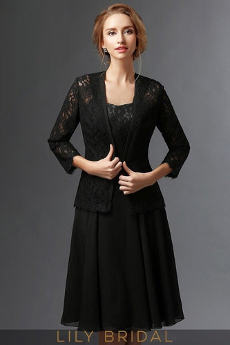 a2df9cacac5 Black Chiffon Lace Sweetheart Knee Length A-Line Mother of the Bride Dresses