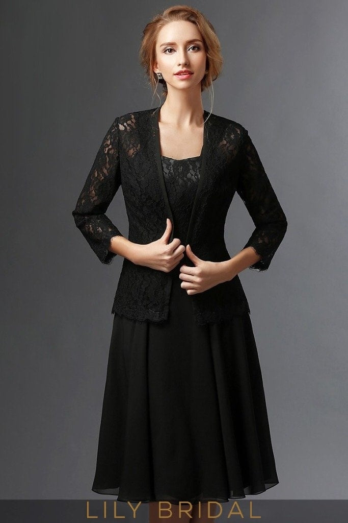 Black Chiffon Lace Sweetheart Knee Length A-Line Mother of the Bride Dresses