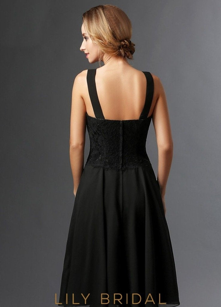 Black Lace Sweetheart Knee Length A-Line Mother of the Bride Dresses