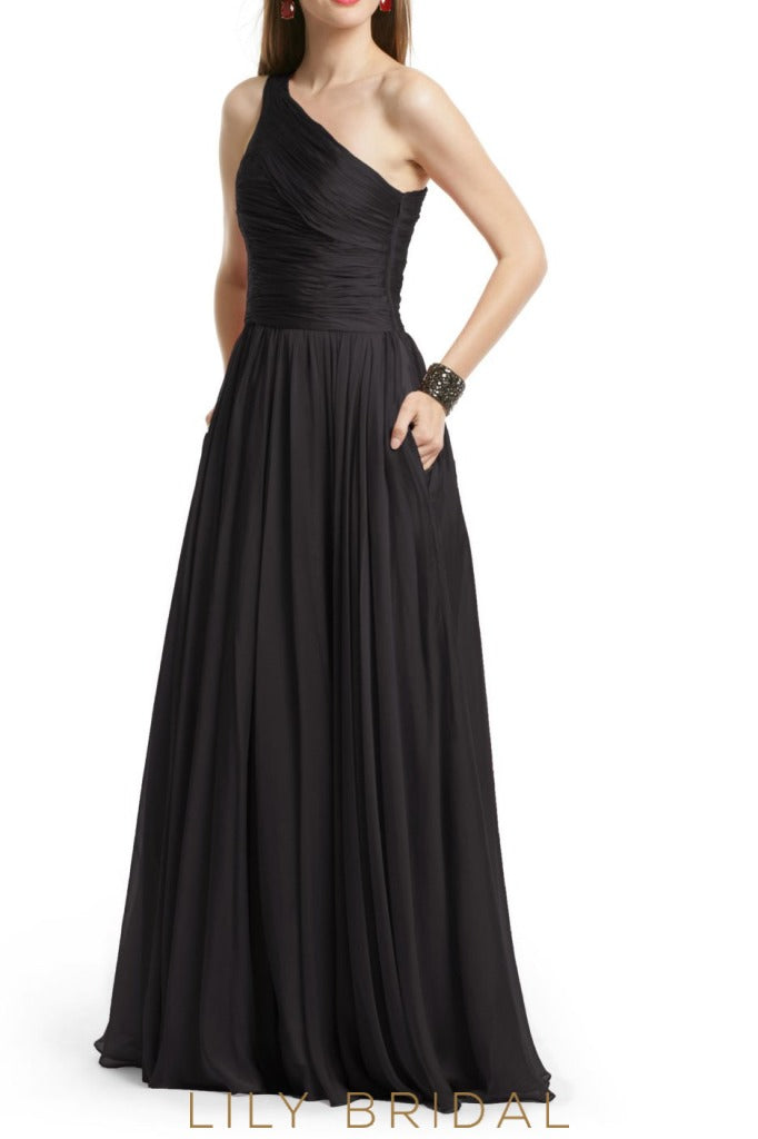 Black Chiffon One Shoulder Sleeveless Floor Length A-Line Bridesmaid Dress
