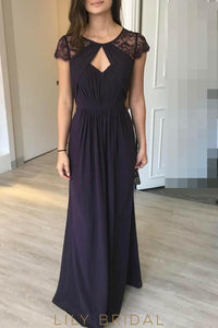 Jewel Neck Cap Sleeve Floor-Length Chiffon Bridesmaid Dress With Lace & Keyhole