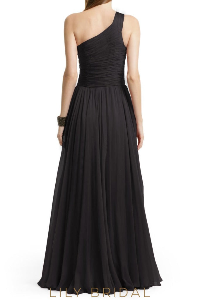 Black One Shoulder Sleeveless Floor Length A-Line Bridesmaid Dress