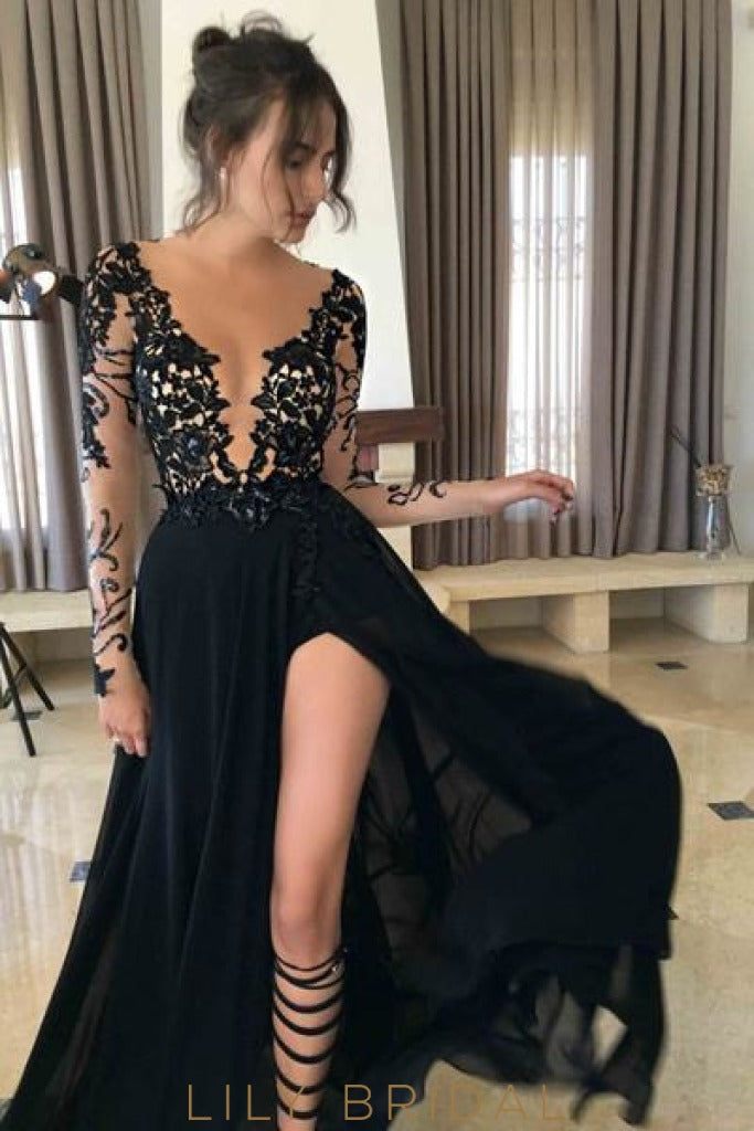 Black Chiffon V-Neck Split Prom Dress with Illusion Lace Top